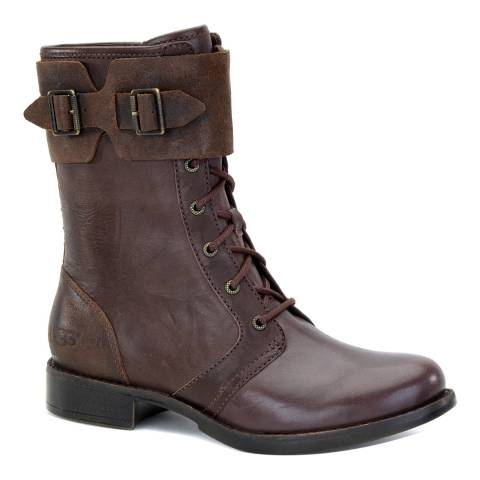 UGG Women's Brown Leather Maaverik Lace Up Utility Ankle Boots