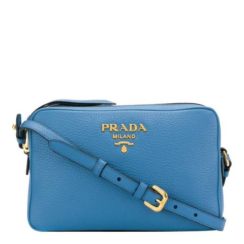 Prada Blue Leather Logo Plaque Shoulder Bag