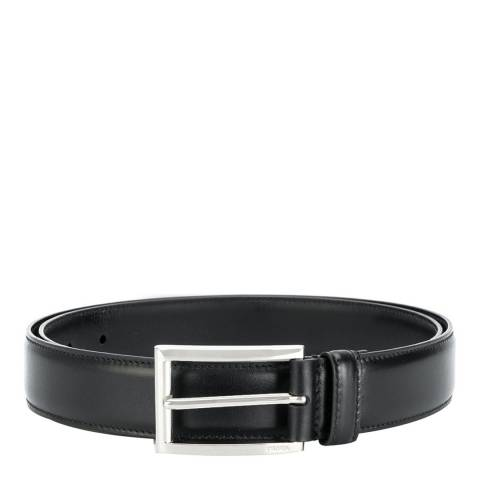 Prada Men's Black Leather Square Buckle Belt 105cm