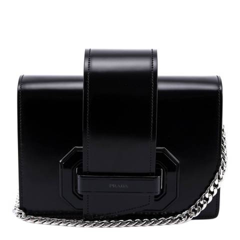 Prada Black Leather Plex Ribbon Shoulder Bag
