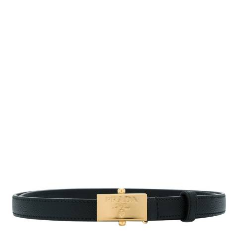 Prada Woman's Black Leather Slim Logo Belt