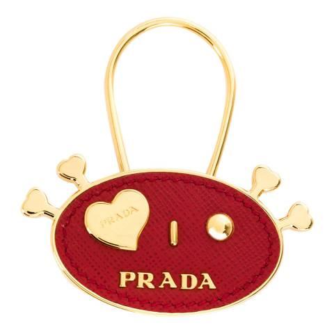 Prada Red/Gold Robot Face Key Ring
