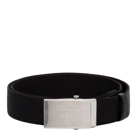 Prada Men's Black Nylon Engraved Logo Belt