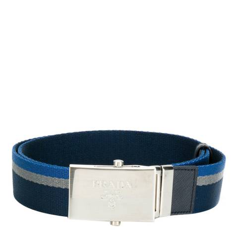 Prada Men's Navy Nastro Stripe Cotton Belt