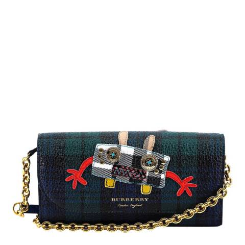 Burberry Navy/Green Checked Monster Patch Flap Wallet