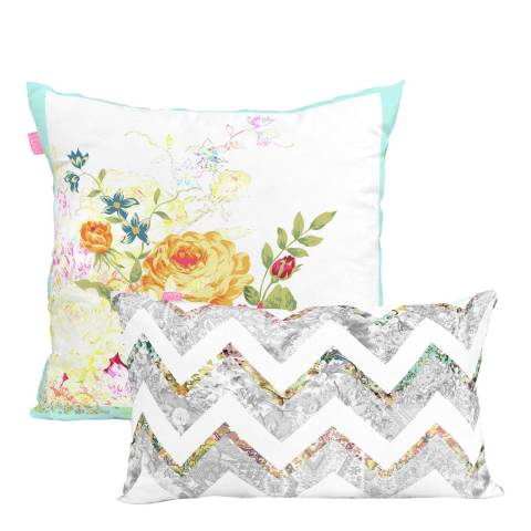 Happy Friday Boho Chic Pair of Reversible Cushion Covers