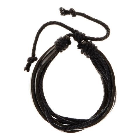 Stephen Oliver Black Leather Adjustable Bracelet