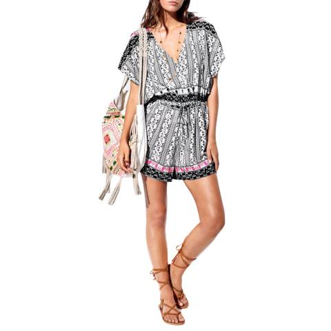 Seafolly Black/Multi Embroidered Print Playsuit