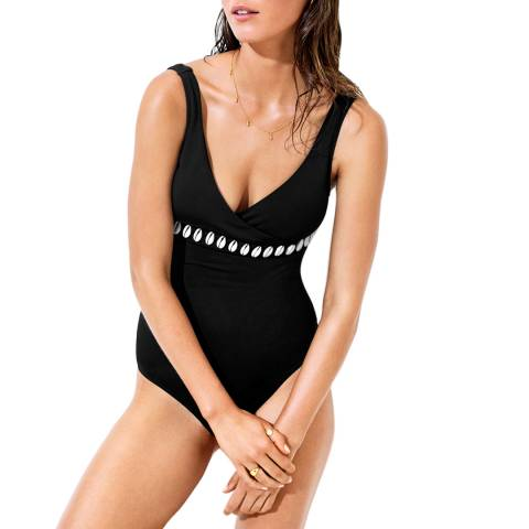 Seafolly Black Seashell Wrap Front Swimsuit