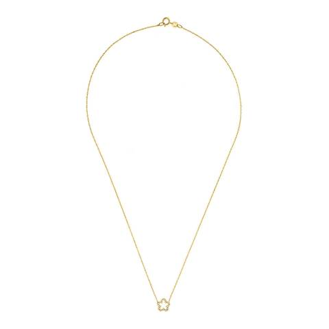 Dyamant Yellow Gold Flower Diamond Necklace  0.08 cts
