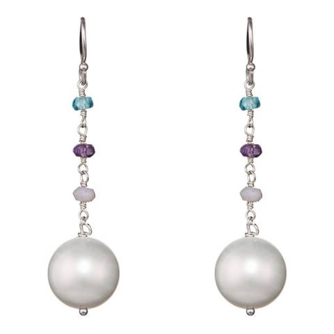 Alexa by Liv Oliver Silver Multi Gemstone and Pearl Drop Earrings