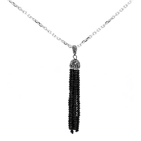 Liv Oliver Black Crystal and Zirconia Gemstone Tassle Necklace