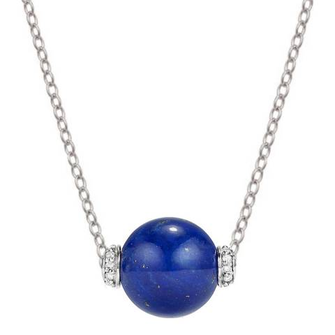 Alexa by Liv Oliver Silver Lapis and Zirconia Necklace