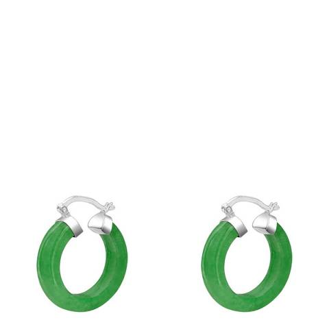 Alexa by Liv Oliver Green Jade Hoop Earrings