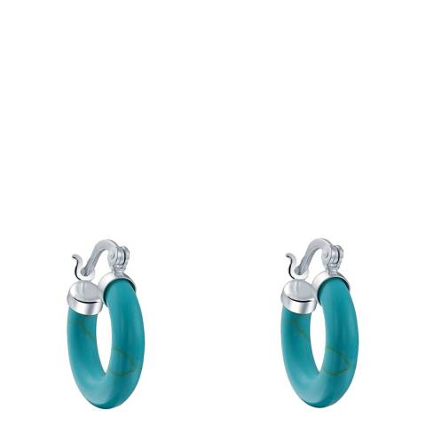 Alexa by Liv Oliver Silver Turquoise Hoop Earrings