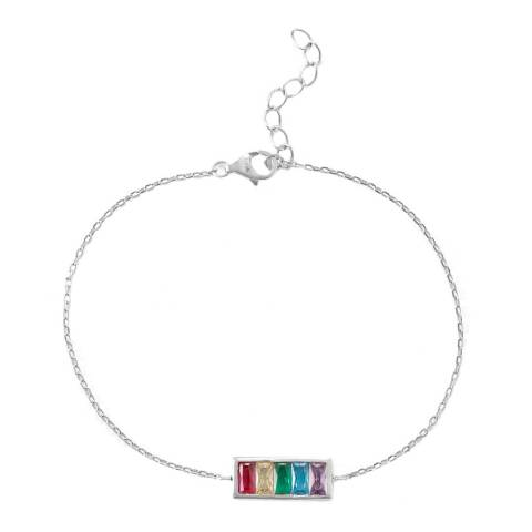 Alexa by Liv Oliver Silver Zirconia Bar Necklace