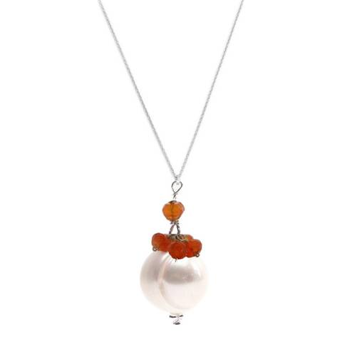 Alexa by Liv Oliver Silver Carnelian and Pearl Drop Necklace