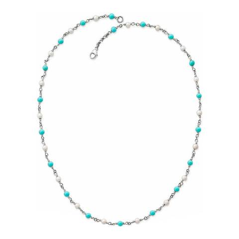 Alexa by Liv Oliver Silver/Turquoise and Pearl Necklace