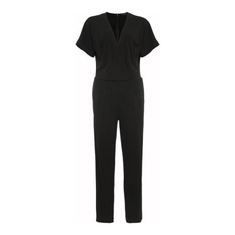 French Connection Black Elsa Draped Jersey Jumpsuit