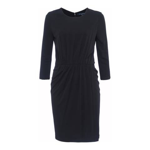 French Connection Black Elsa Long Sleeved Draped Jersey Dress