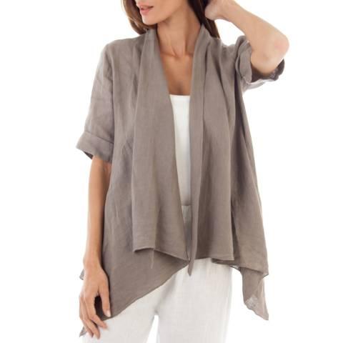 Toutes belles en LIN Taupe Linen Lightweight Jacket
