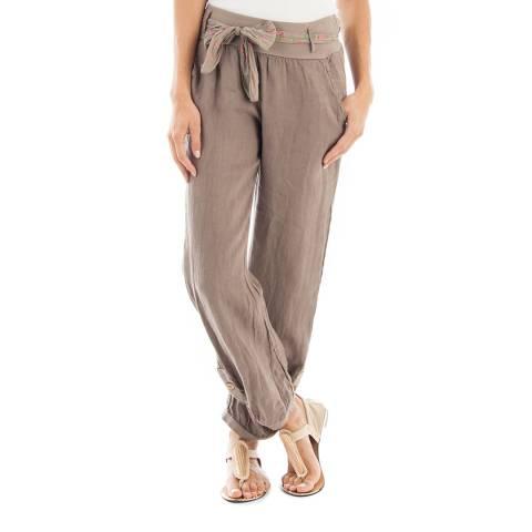 Toutes belles en LIN Taupe Francfort Linen Trousers