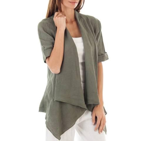 Toutes belles en LIN Khaki Linen Lightweight Jacket