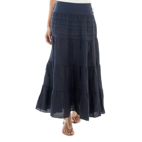 Toutes belles en LIN Navy Milano Linen Maxi Skirt