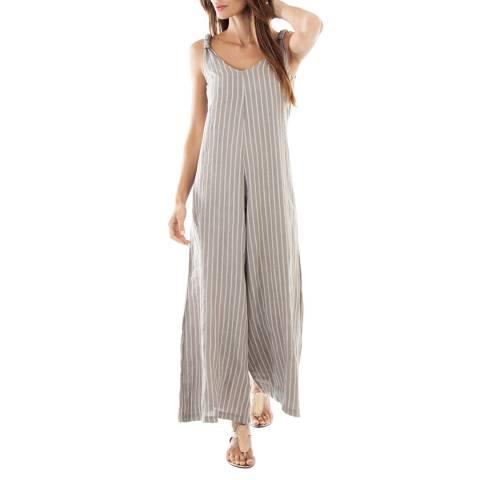 Toutes belles en LIN Taupe Stripe  Lightweight Linen Jumpsuit