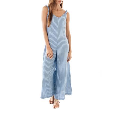 Toutes belles en LIN Indigo Stripe Lightweight Linen Jumpsuit