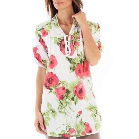 Toutes belles en LIN White Floral Barcelona Linen Tunic