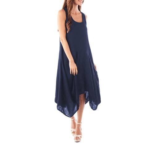 Toutes belles en LIN Navy Davos Linen Dress