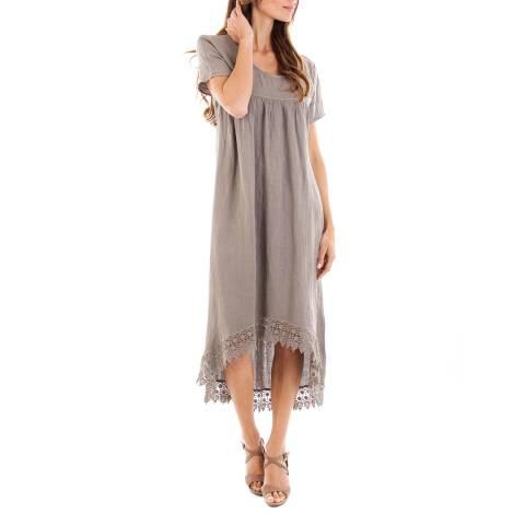 Toutes belles en LIN Taupe Linen Dress