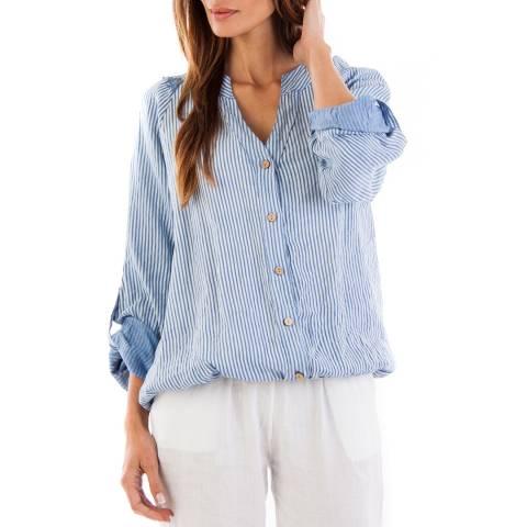Toutes belles en LIN Indigo Stripe Barcelona Linen Tunic
