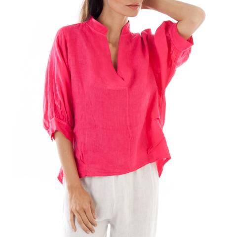 Toutes belles en LIN Bright Pink Lightweight Linen Top