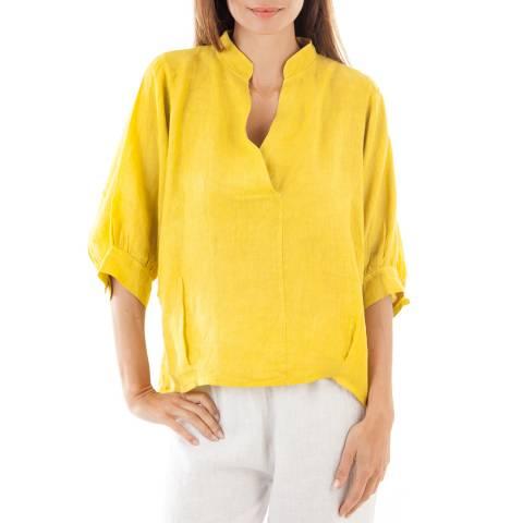 Toutes belles en LIN Yellow Lightweight Linen Top