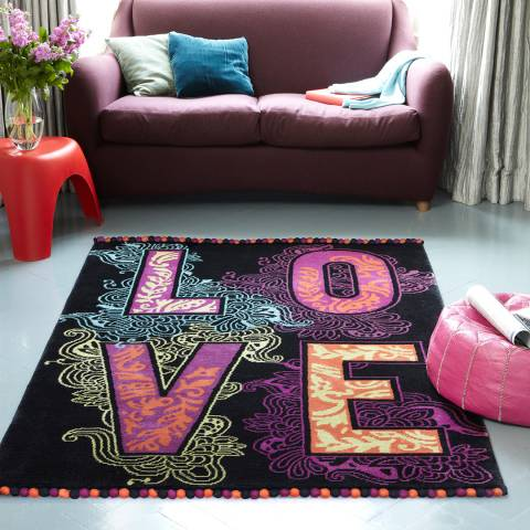 Plantation Rug Company Black Love Rug 120x180cm