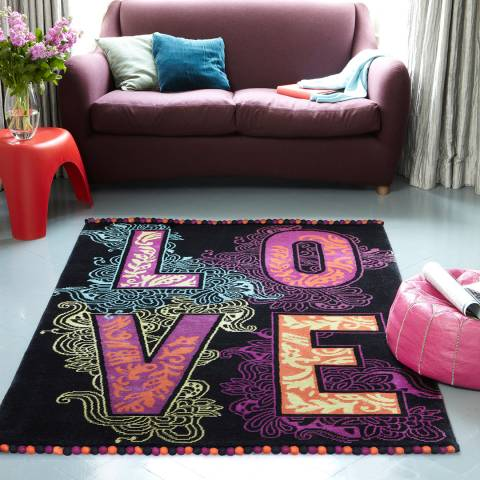 Plantation Rug Company Black Love 01 150x230cm Rug