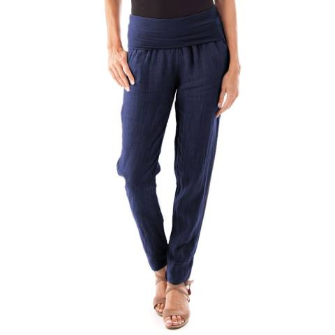 Toutes belles en LIN Navy Full Length Linen Trousers