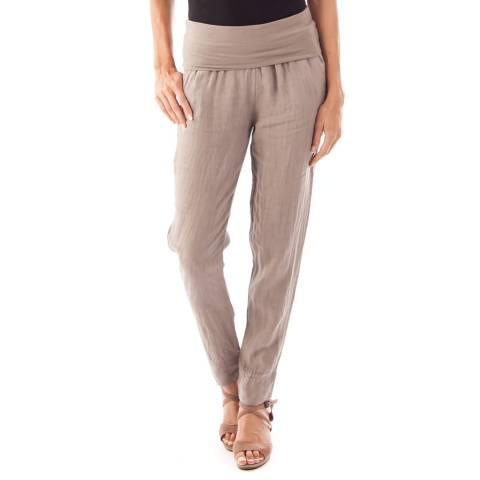 Toutes belles en LIN Taupe Full Length Linen Trousers