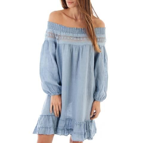 Toutes belles en LIN Indigo Lightweight Linen Dress
