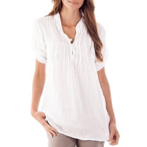 Toutes belles en LIN White Roma Linen Blouse