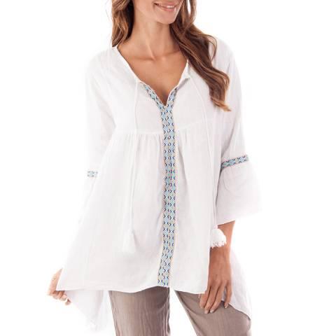 Toutes belles en LIN White Sorrento Linen Floaty Tunic Top