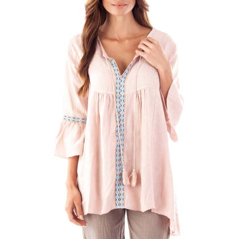 Toutes belles en LIN Rose Sorrento Linen Floaty Tunic Top