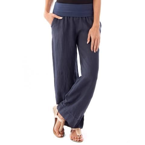 Toutes belles en LIN Navy Wide Leg Linen Trousers