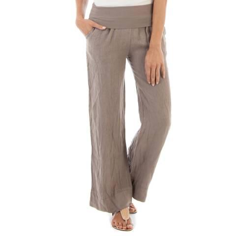 Toutes belles en LIN Taupe Wide Leg Linen Trousers