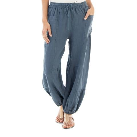 Toutes belles en LIN Navy Linen Drawstring Trousers