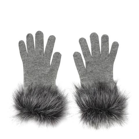 Laycuna London Grey Short with Faux Fur Cashmere Gloves
