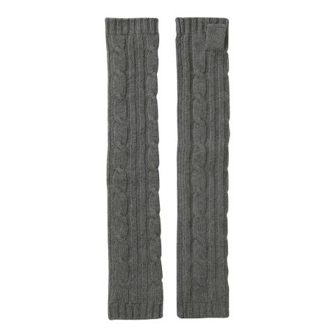 Laycuna London Khaki Cashmere Cable Knit Long Wrist Warmers
