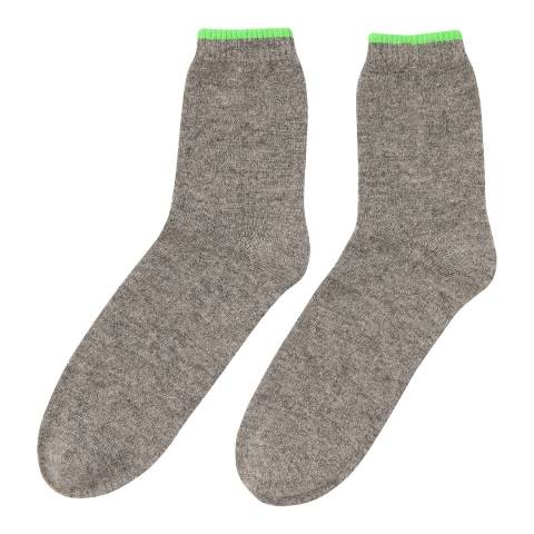 Laycuna London  Grey Cashmere Socks with contrast neon green trim